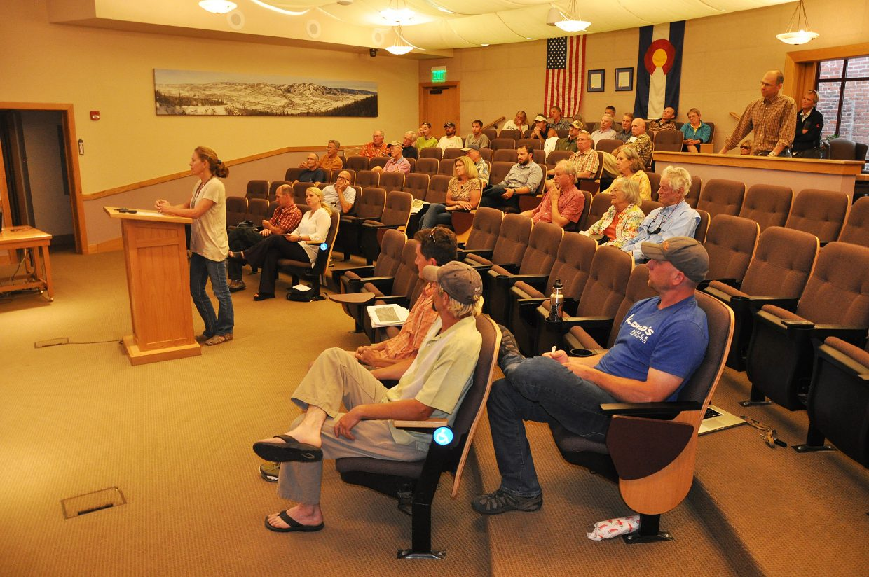 A crowd listens to a discussion about whether to develop Rita Valentine Park. The Steamboat Springs Parks and Recreation Commission voted to start from scratch on plans at the park.