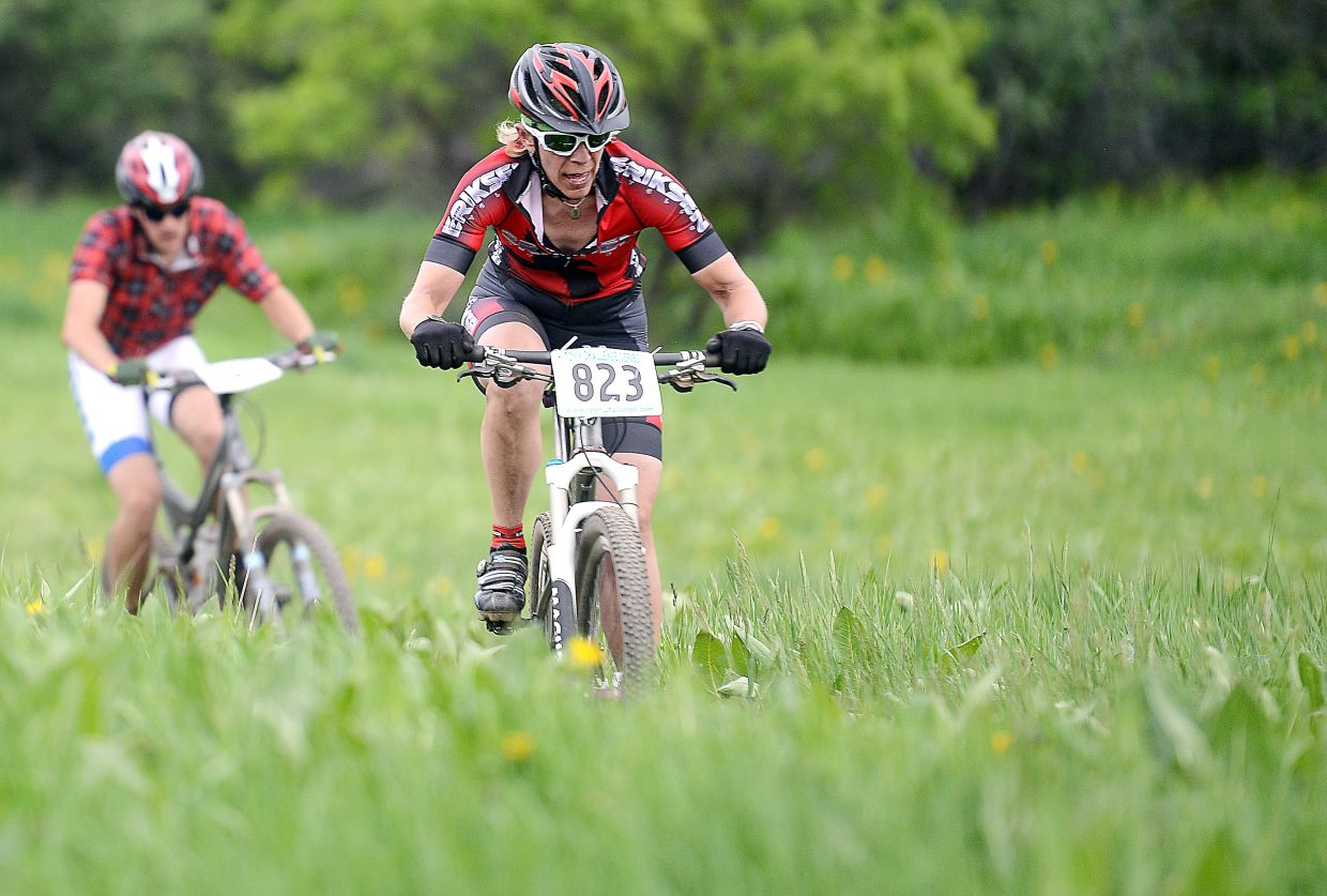 Katie Lindquist rides Wednesday in a Town Challenge mountain bike race at Marabou.