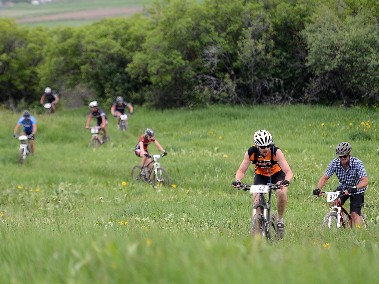 Chris Mitchell rides in Wednesday's Town Challenge mountain bike race at Marabou.