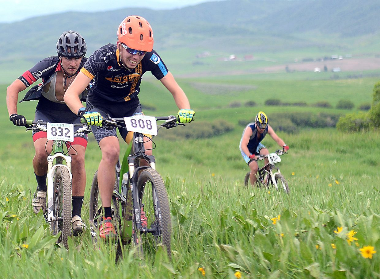 Jacob Carter-Gibb, right, and Jackson Morgan ride during Wednesday's Town Challenge mountain bike race at Marabou.