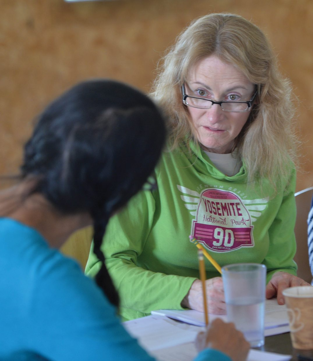 Actor Shannon Holt takes direction from playwright and fellow actor Sandra Tsing-Loh during a read through at the Perry Mansfield Performing Arts School land Camp this week. Holt and Tsing-Loh were in town for the New Works Festival.