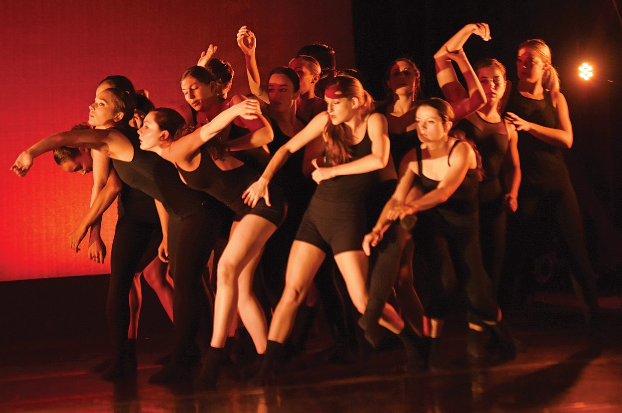 College dancers rehearse a number for the New Works Dance Show at the Perry-Mansfield Performing Arts School and Camp June 11 in the Main Studio on the school's campus. The show is scheduled to take place at 8 a.m. June 12.