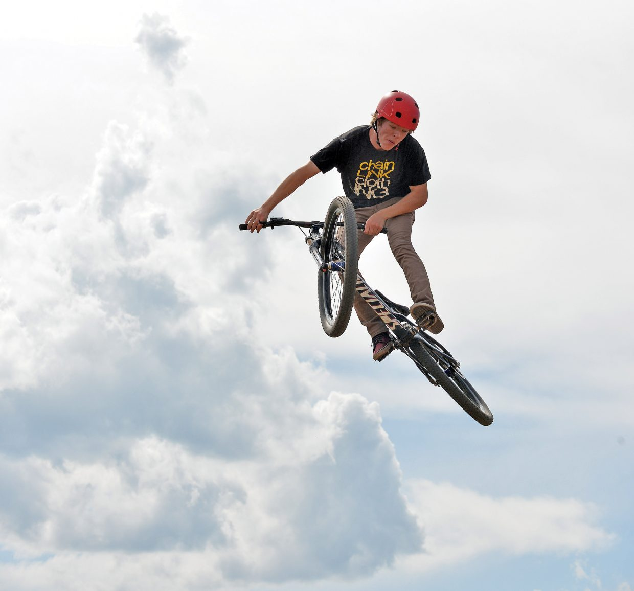 Cyclist Max Parsons launches off a jump at the Bear River Bike Park earlier this week. At 6 p.m. Friday, the venue will host the first-ever Jump Jam and Photo Shoot-Out.
