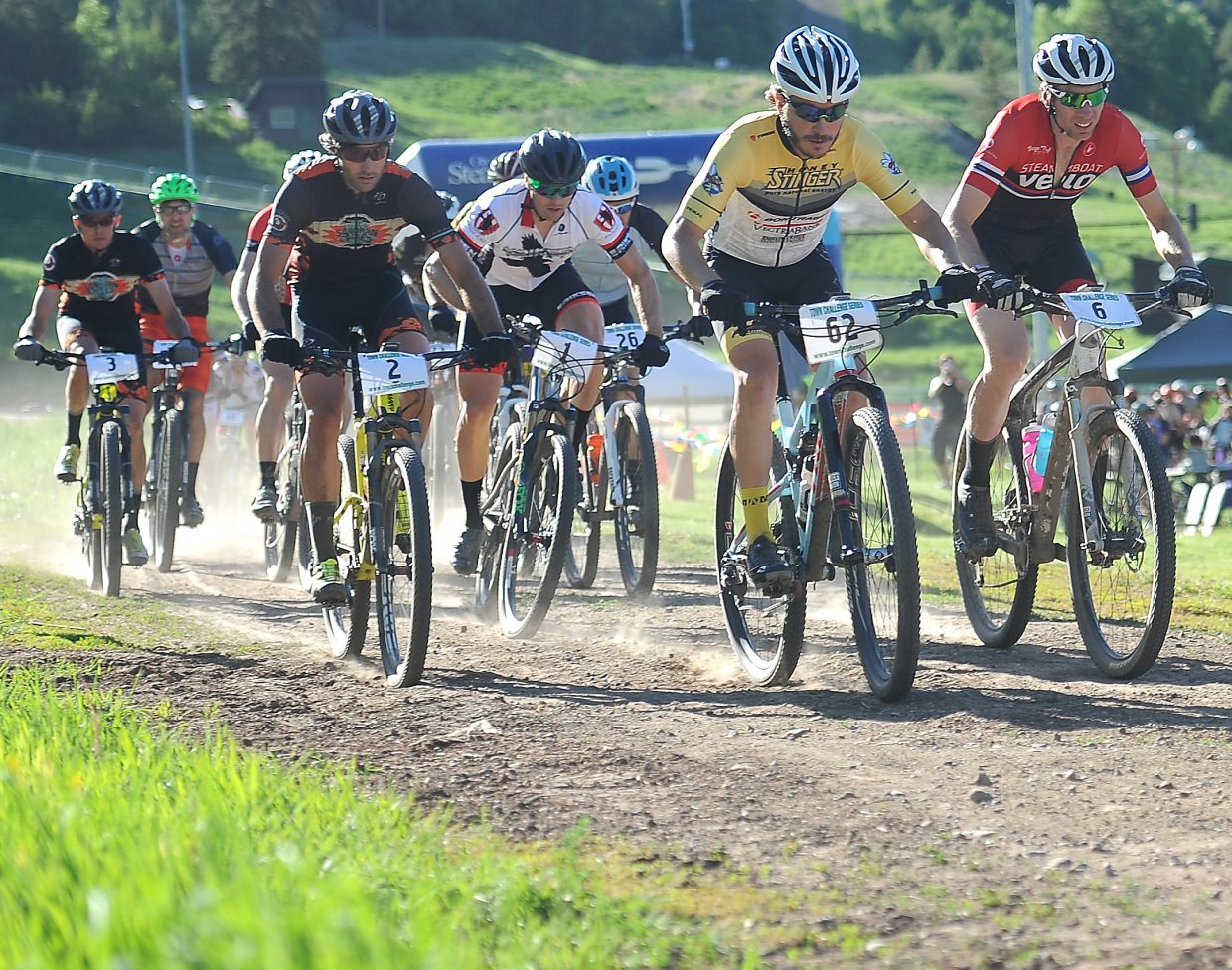 Riders take off from the starting line at a Town Challenge Mountain Bike series race earlier this summer at Howelsen Hill. The series returns Wednesday for the Howelsen Hammer XC race with a 5:25 p.m. start. Children's races will be up first, followed by the adults starting at 6:10 p.m. A 12.45-mile course awaits those in the top divisions — the open, expert and single speed classes — while the sport and youth 16-18 classes will tackle 9.24 miles of trail.