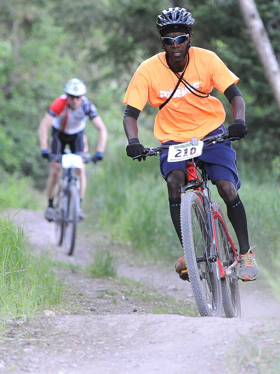 Tony Counts rides Wednesday in the Town Challenge mountain bike race at Howelsen Hill.