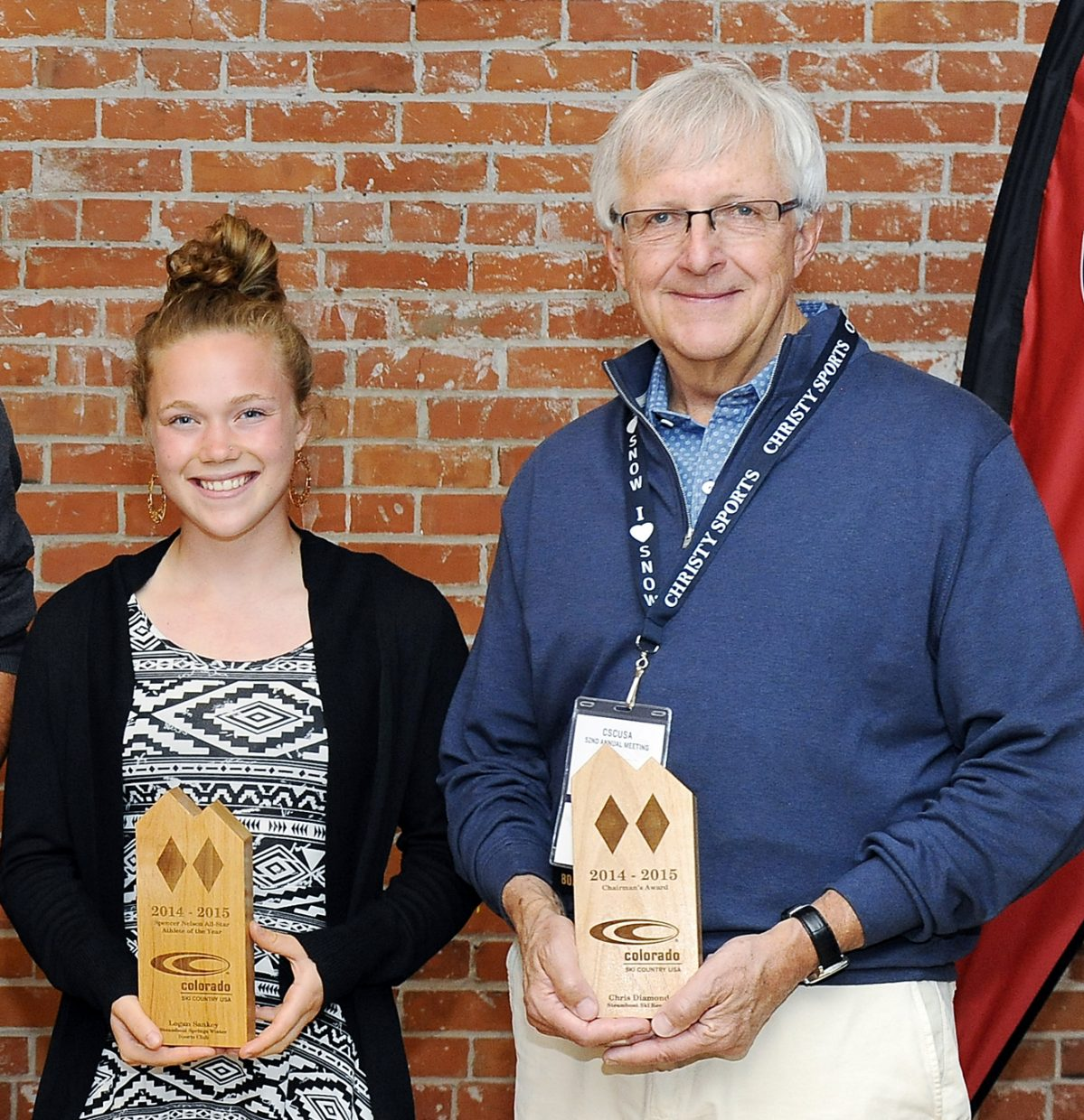 Steamboat Springs Winter Sports Club ski jumper Logan Sankey, left, received the Spencer Nelson All-Star Athlete of the Year award, and retiring Steamboat Ski & Resort Corp. President and Chief Operating Officer Chris Diamond received a Chairman's Award June 12 at the annual meeting of Colorado Ski Country USA in Boulder. Not present was Steamboat ski instructor Trish O'Connell, who was named ski instructor of the year.