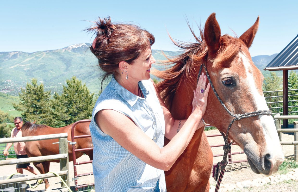 Former Steamboat Springs middle school teacher Tracy Bye spent a little time with her horse Bo, who is recovering from an injury suffered earlier this spring. Bye, who retired at the end of the school year after 26 years as a teacher in Steamboat Springs, was named district Educator of the Year.