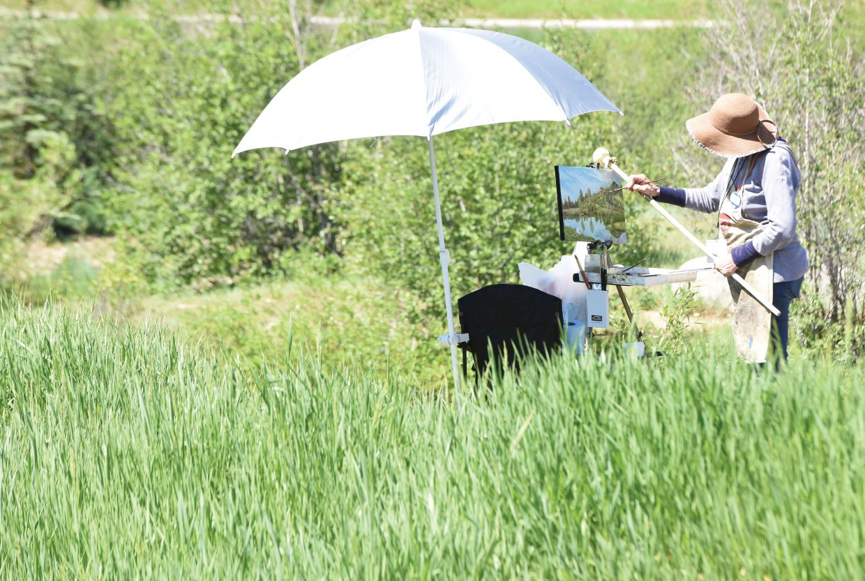 Plein Air painter Elaine Evans works o a piece at Fetcher's Pond earlier this week. Evans was in Steamboat taking part in the Steamboat Art Museum's 2016 Plein Air event, which is taking place June 11-18 in Steamboat Springs.