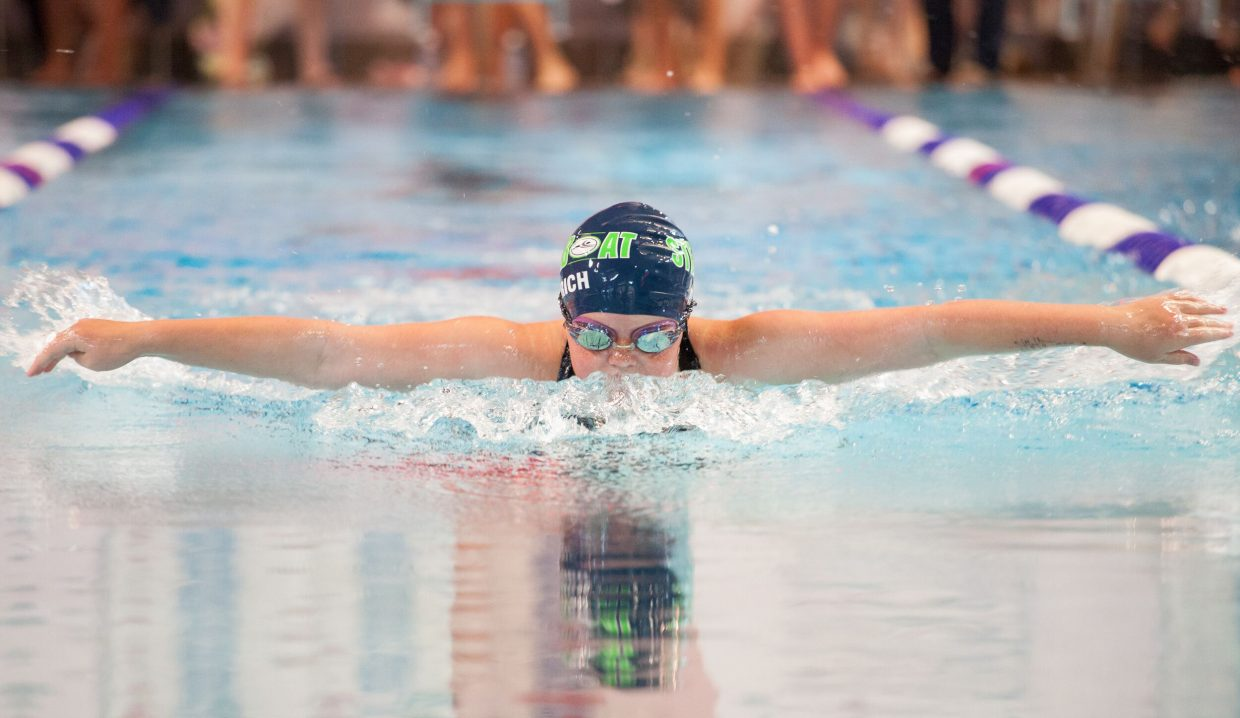 Amanda Dietrich swims the butterfly last weekend in a swim meet in Aspen. Dietrich won the race and finished second in three others.