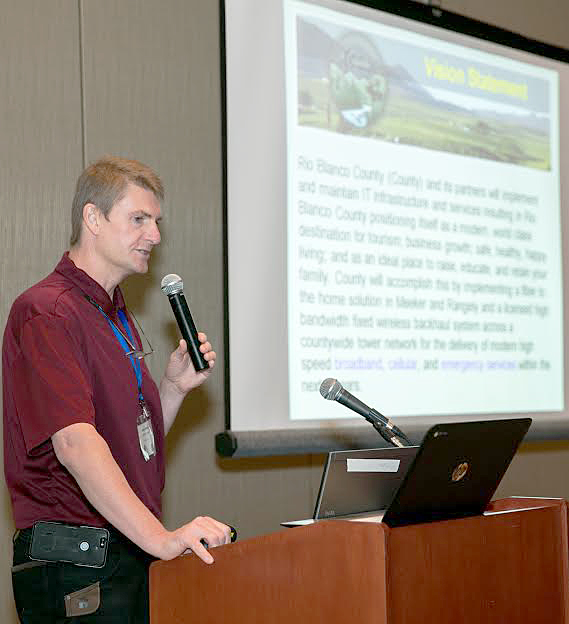 Blake Mobley, IT director for Rio Blanco County, discusses broadband service at Mountain Connect's Broadband Development Conference in June.