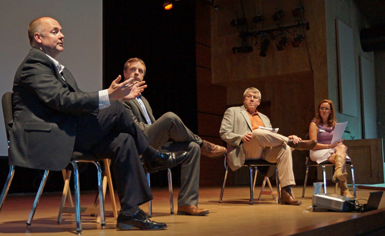 Panelists Lee Boughey, Dan Byers, Raymond Gifford and moderator Amy Oliver Cooke discussed upcoming Environmental Protection Agency regulations and the situation at Colowyo Coal Mine on Wednesday night at a public meeting hosted by the Steamboat Institute.