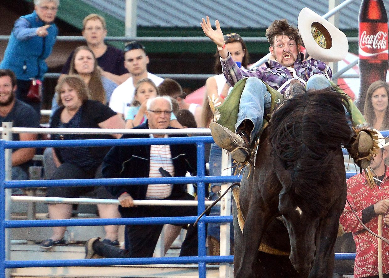 Tyler Ferguson, a bareback rider from Deer Trail, rides in a 2014 rodeo in Steamboat Springs. The Steamboat Springs Pro Rodeo series returns to town starting with a 7:30 p.m. Friday night performance.