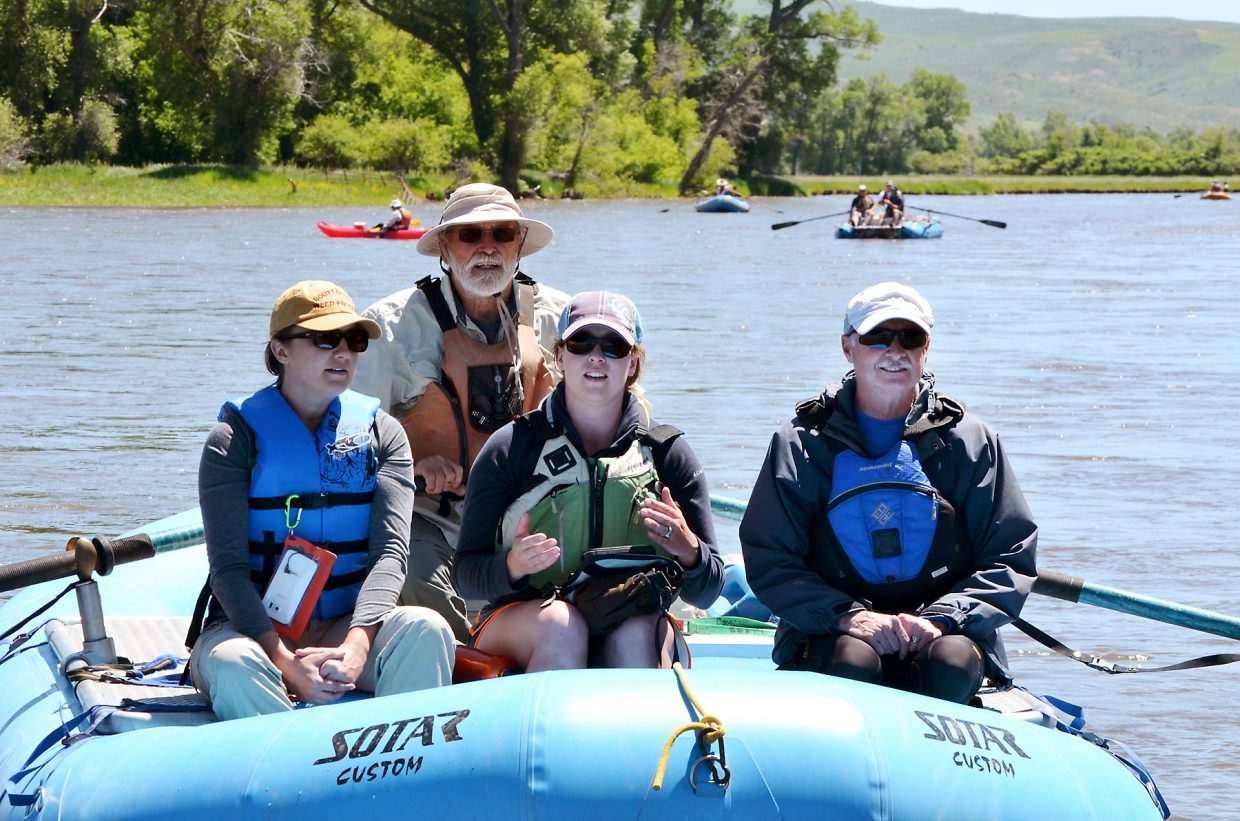 Former Routt County Commissioner Ben Beall was at the oars June17 as a floating party of officials and river advocates from Routt and Moffat counties floated from Routt into the city of Craig on a perfect day on the Yampa River. Beall's passengers, from left, include Colorado Department of Agriculture noxious weed specialist Patty York, Moffat County Weed and Pest Manager Jessica Counts and Moffat County Commissioner John Kinkaid.