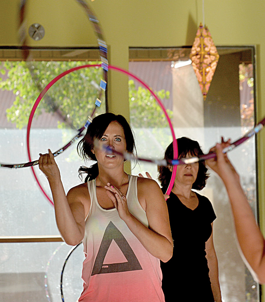 Instructor Meg Rose leads a hoop class at Sundance Studio in Steamboat Springs.