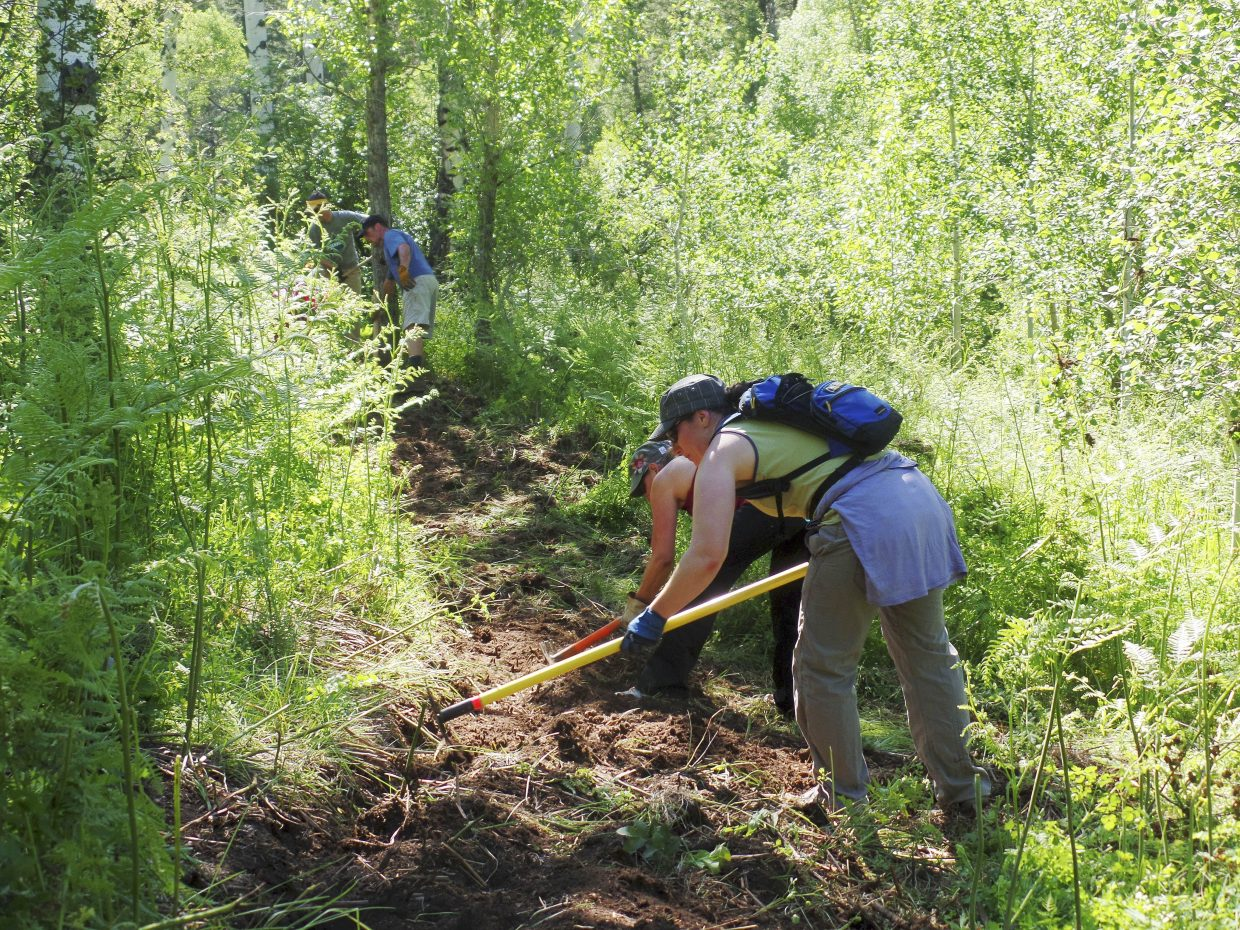 Smartwool employees work on a new section of the Hot Springs Trail.