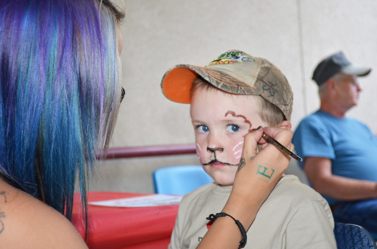 Jacob Schmedeke, 3, gets his face painted at The Haven's annual fundraiser Friday night in Hayden.