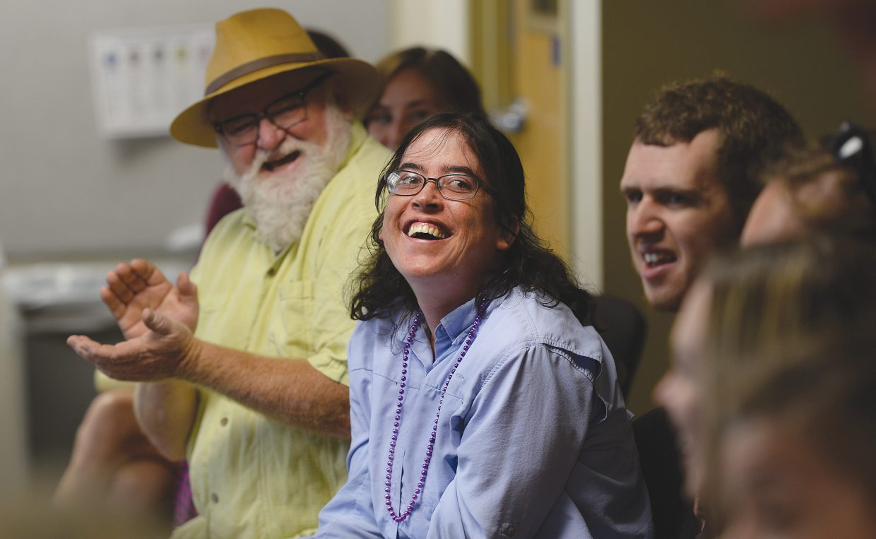 Misty Garcia laughs while taking part in a joint workshop put on by Emerald City Opera in collaboration with Horizons Specialized Services and the Yampa Valley Autism Program to provide voice training to people with developmental disabilities. The idea is that singing is a tool adapted for each individual to increase self-awareness and learning and to create a place of safety as well as personal and emotional growth.