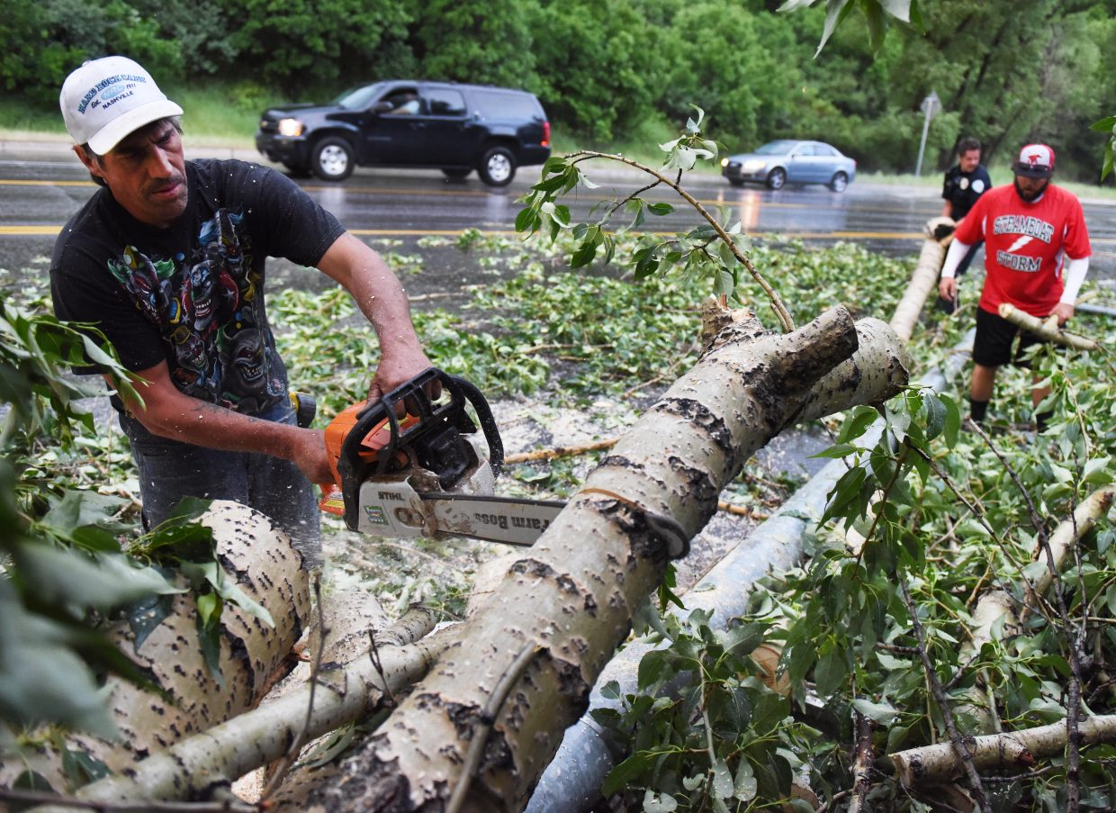 Don Kidder saws into a fallen cottonwood tree blocking traffic on U.S. Highway 40 on Thursday evening after a quick, nasty storm blew through Steamboat Springs. Kidder said he was on his way home from work, a chainsaw conveniently in his truck, when he saw the tree and stopped to help several police officers and a few other volunteers move it to the side of the highway.