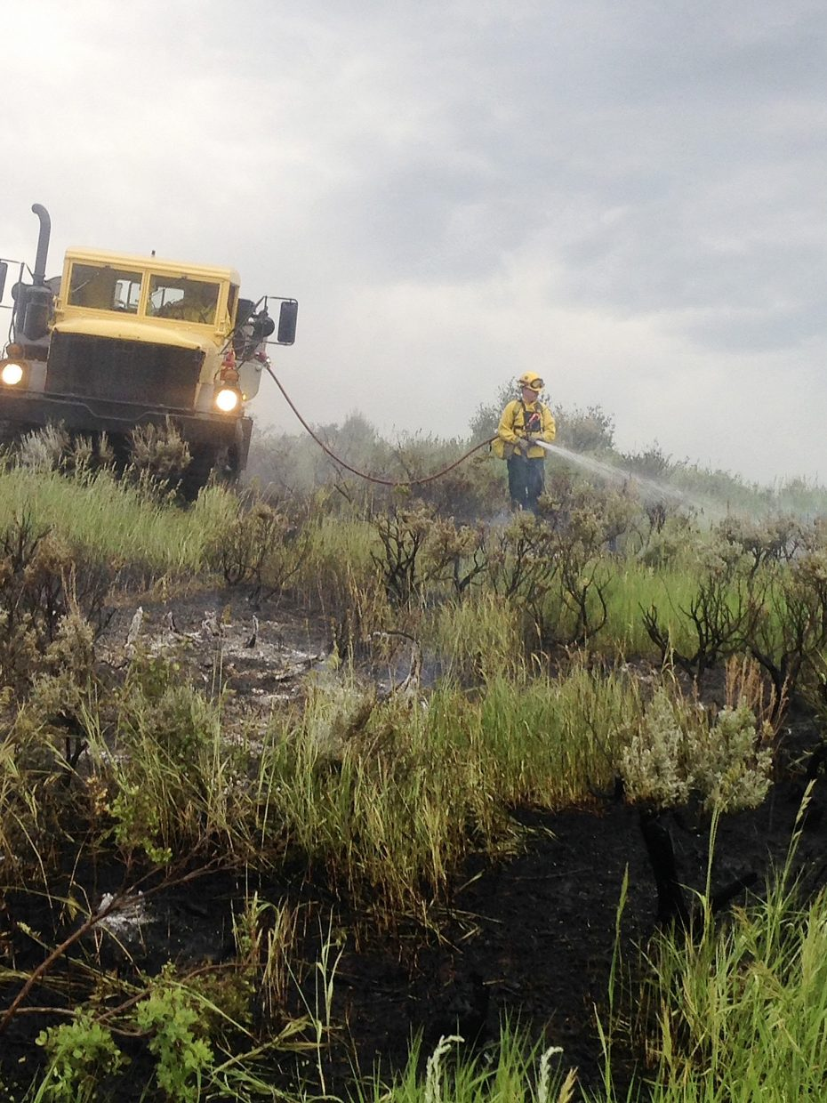 West Routt Fire Protection District firefighters responded to this wildfire Monday evening along C.R. 27. It is believed the fire was caused by a lightning strike.