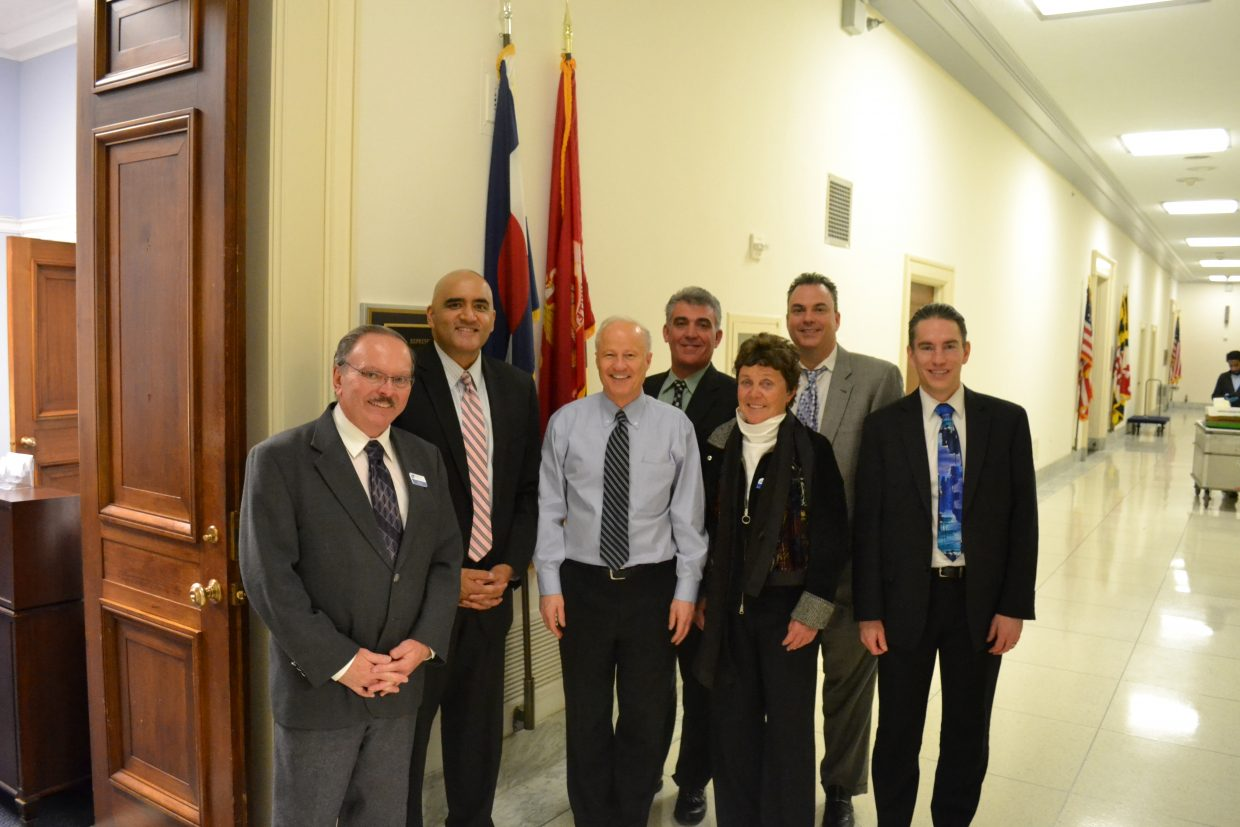 Colorado Transportation Commissioner Kathy Connell, third from right, poses with state transportation officials and federal officials during a trip to Washington DC in February. Connell traveled to DC to talk about transportation funding.