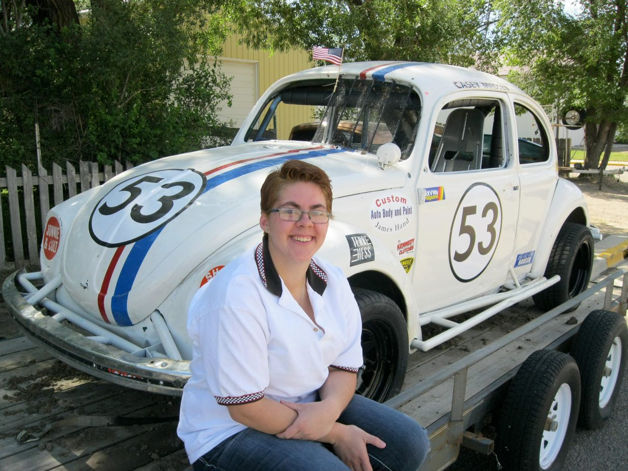 Casey Madsen and the Herbie Volkswagen Beetle she races will be at the Hayden Speedway throughout the summer. The next set of races begins at 6 p.m. Saturday.
