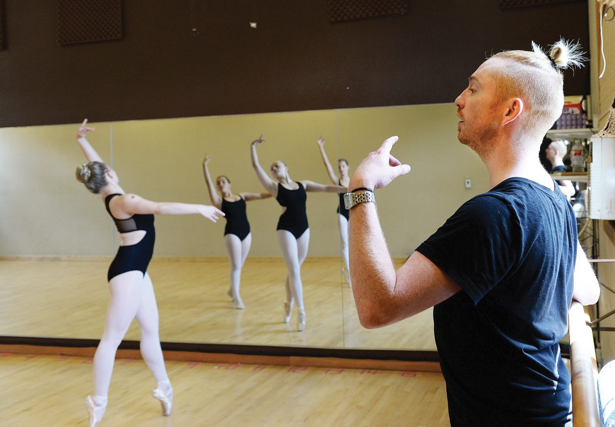 Ryan Browning, who grew up in Steamboat Springs and is now coaching dance at the Extreme Dance Center in Chicago, was back home this week teaching an intensive class at the Elevation Dance Studio. Here he works with dancers Kaylee Davis, far left in the mirror, Joey Morrow, center in the mirror, and Olivia Satkiewicz on the right side of the mirror.