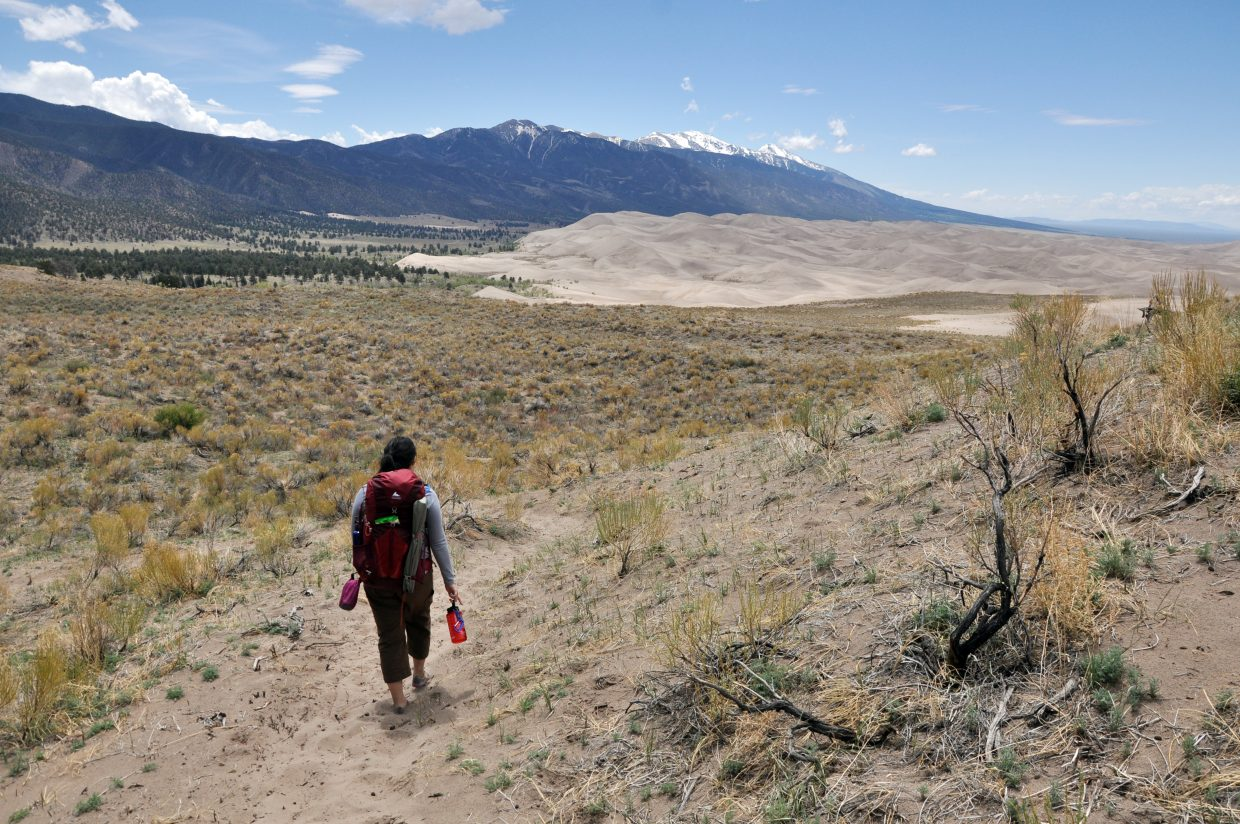 Steamboat Pilot & Today Evening Editor Vicky Ho backpacks along the Sand Ramp Trail in Great Sand Dunes National Park.