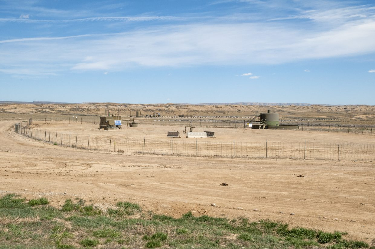 This well pad, located just east of Moffat County Road 10 North, is one of many wells dotting the landscape of the Hiawatha Field in northwestern Moffat County. First discovered in 1927, Wexpro (a subsidiary of Questar) is one of the main operators in the natural gas field. Oil and gas company representatives and local officials worry that low oil and gas prices and new federal regulations could make future development in Northwest Colorado prohibitively difficult.