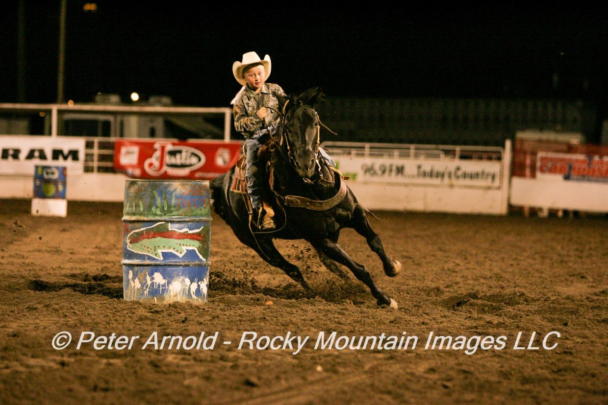 Junior Barrel Racer-4 year old Cutter Barnes. Submitted by Peter Arnold.