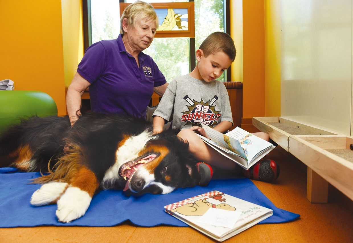 Dash Levy, of Florida, reads to Barbara Clark and her dog, Julia, inside the Bud Werner Memorial Library last summer as part of Heeling Friend's READ program.