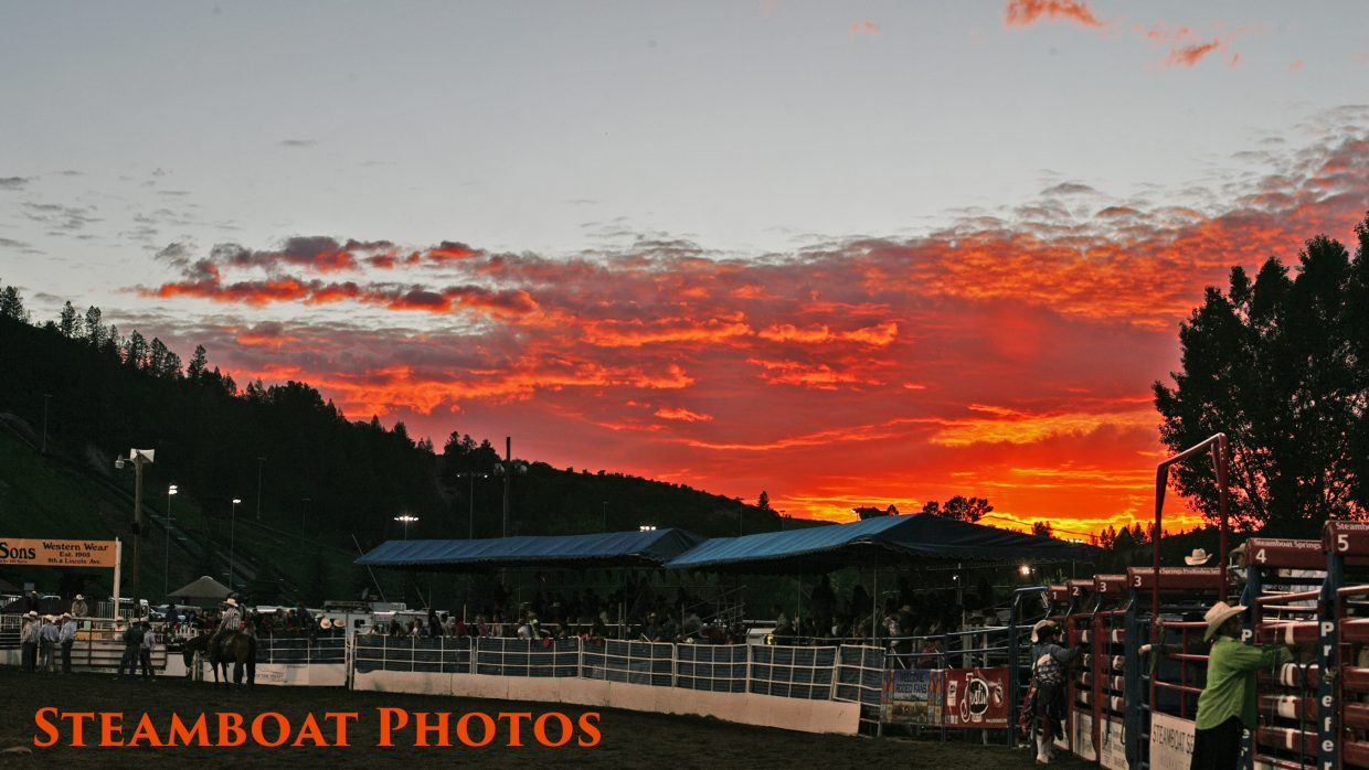 Blazing sunset at the Steamboat Pro Rodeo on Saturday. Submitted by: Peter Arnold