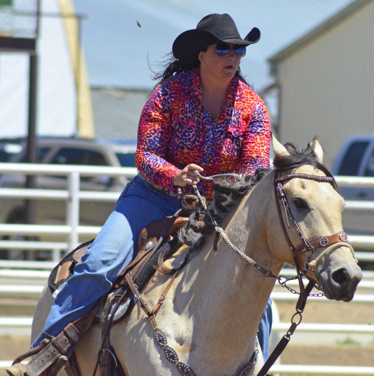 J'Leah Richardson, of Meeker, rides on horse Joe Reed Hancock during the Tri-State Barrel Racing Classic Saturday at Moffat County Fairgrounds.