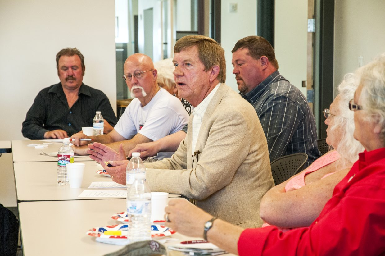 Congressman Scott Tipton speaks with about 30 community and energy industry leaders from Northwest Colorado at an energy roundtable Monday at Colorado Northwestern Community College.