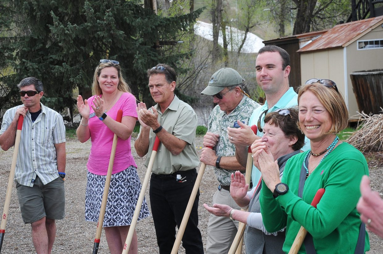 Steamboat Springs City Council members applaud during a groundbreaking ceremony for the Yampa Street improvement project.