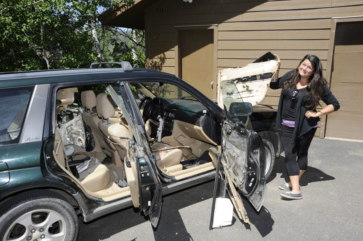 Steamboat Springs resident Jessica Scroble said her car is totaled after a bear broke into it Tuesday night.
