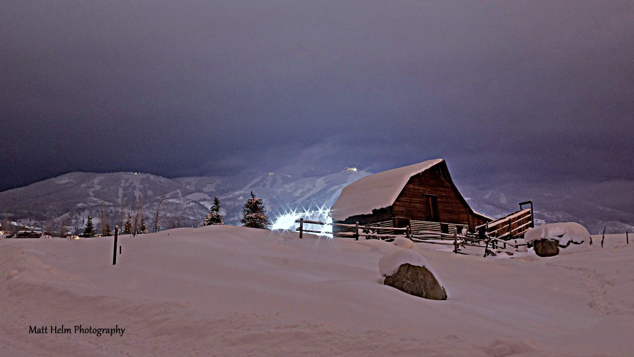 This is the More Barn with the night skiing lights lighting up the snowing skies above taken at about 8:30 p.m. Saturday. Submitted by: Matt Helm