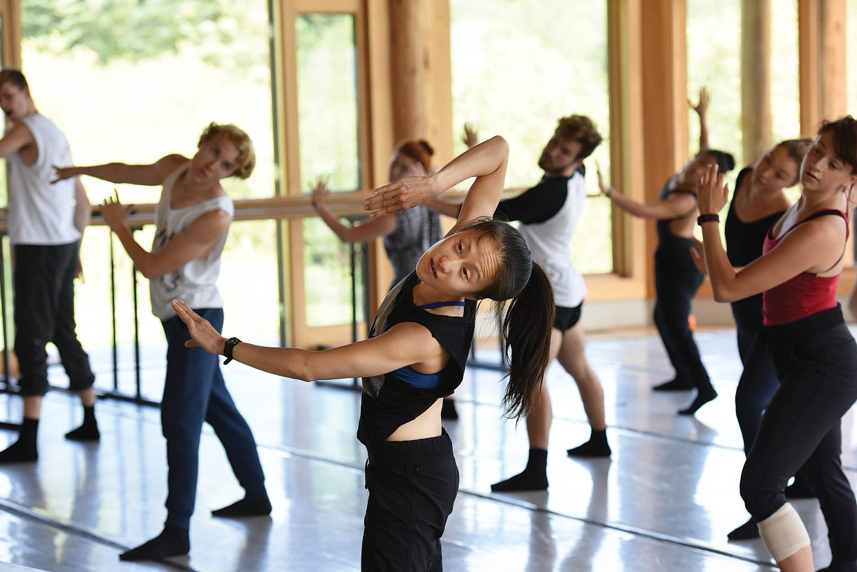 Choreographer Yin Yue teaches a class of pre-professional dancers her routine at the Perry-Mansfield Performing Arts School and Camp Tuesday. The group will take part in the First Friday Artwalk for the first time, with different groups performing live at six different locations from 5 to 8 p.m.