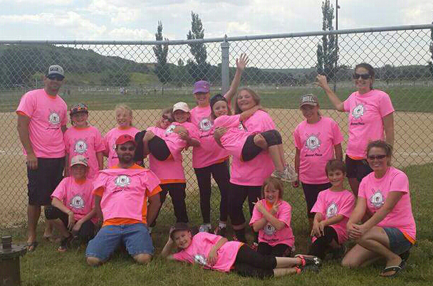 The members of Hayden's Mountain Valley Bank softball team display their second place t-shirts as part of the 8-to-11-year-old bracket of the Craig Parks & Recreation tournament June 25 at Loudy-Simpson Park. The team was seeded last but made their way to the finals, where they were defeated by Arena of Dreams Riding Academy. Back row, from left: assistant coach Kevin Harris, Mykyla Harris, Jenna Kleckler, Dakota Munden, Brianna Brady, Aveory Lighthizer, Alex Hampton, Piper Jo Jones, Kobe Hampton and head coach Deanna Mathey. Front: Kelly Turner, assistant coach Jared Hampton, Tessa Booco, Kimberly Patterson, Isabel Mathey and assistant coach Tracey Munden.
