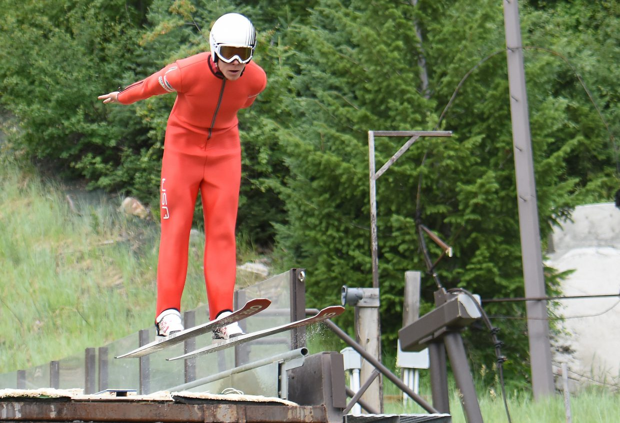 Ben Berend jumps from the HS75 ski jump at Howelsen Hill last week. Berend logged 10 starts on the Nordic combined World Cup last winter, the most in his career.