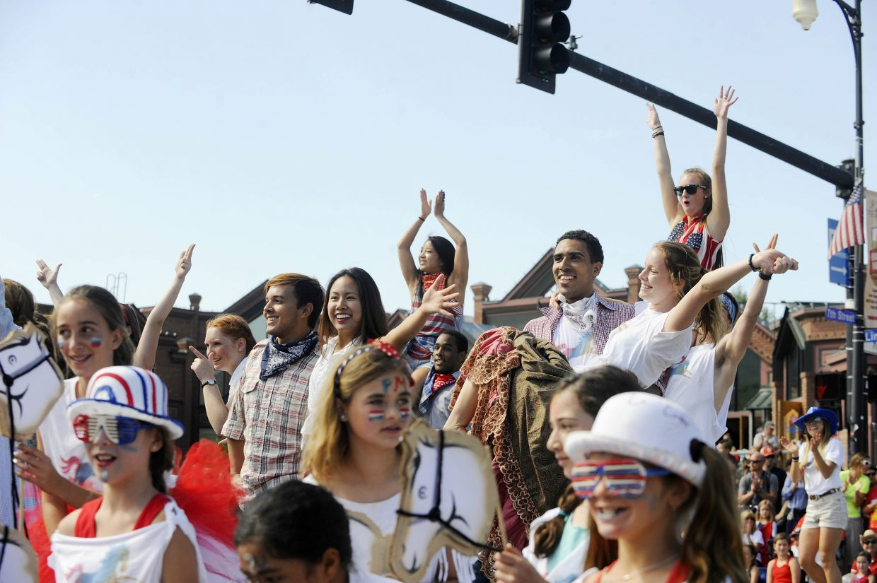 Performers with the Perry-Mansfield Performing Arts School and Camp dance during the July 4 parade.