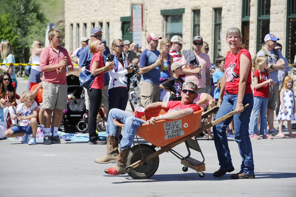 Ross and Medora Fralick promote the 2014 Routt CountyRedneX Games that will take place July 12 in Hayden during the Fourth of July parade in Steamboat Springs.