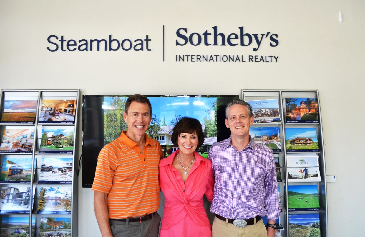Cam Boyd, left, and Pam Vanatta of Steamboat Sotheby's International Realty have welcomed David Baldinger Jr., right, as the third principal in the brokerage after a merger with Baldinger's Steamboat Village Brokers.