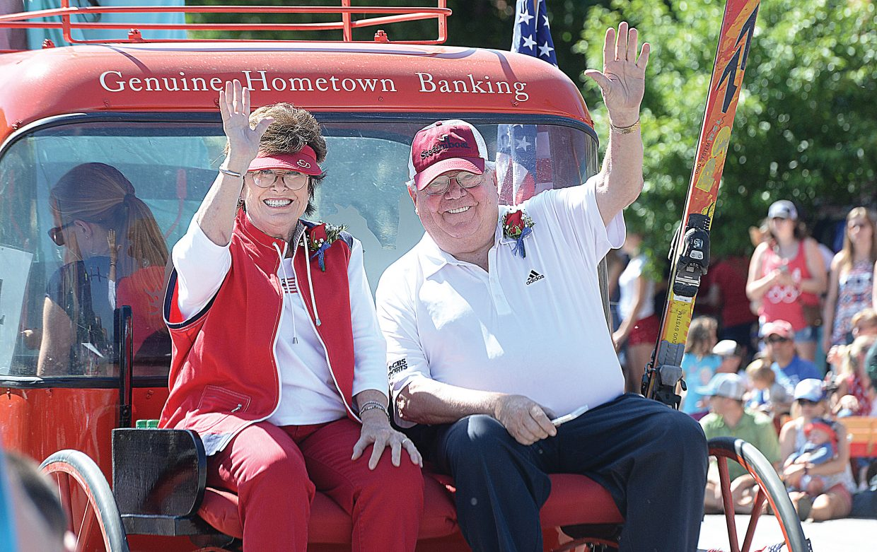 Verne Lundquist and his wife, Nancy, were featured as parade grand marshals in Monday's Yampa Valley Bank Fourth of July Parade in downtown Steamboat Springs. The longtime Steamboat Springs residents are well-known for their philanthropy, donating both time and money to the place they have called home since 1984. In May Verne Lundquist won an Emmy Award for Lifetime Achievement for his decades as a television sportscaster, most notably, calling games for SEC football on CBS.