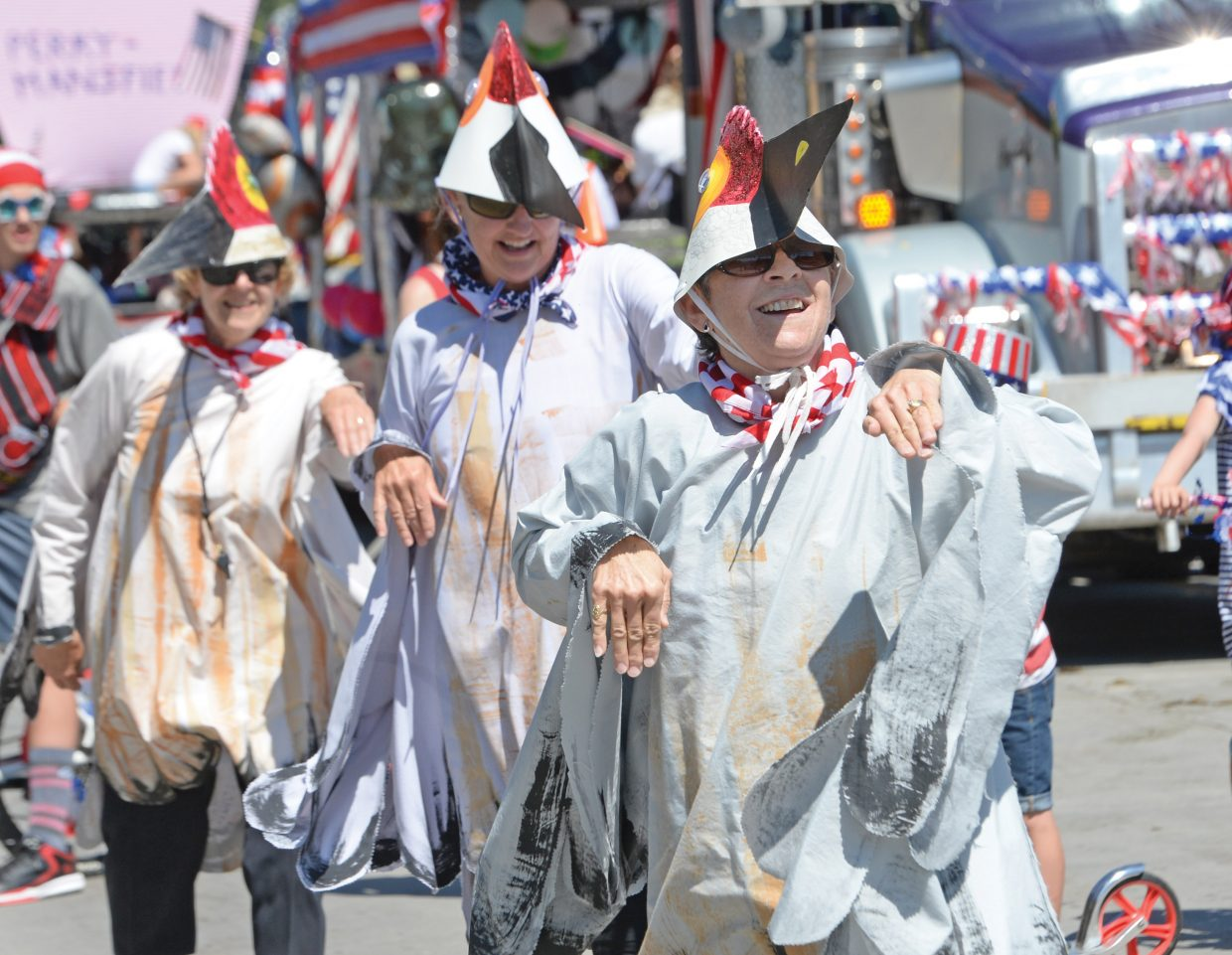 Barb Hughes dressed as a crane and did a dance during a past Fourth of July Parade.
