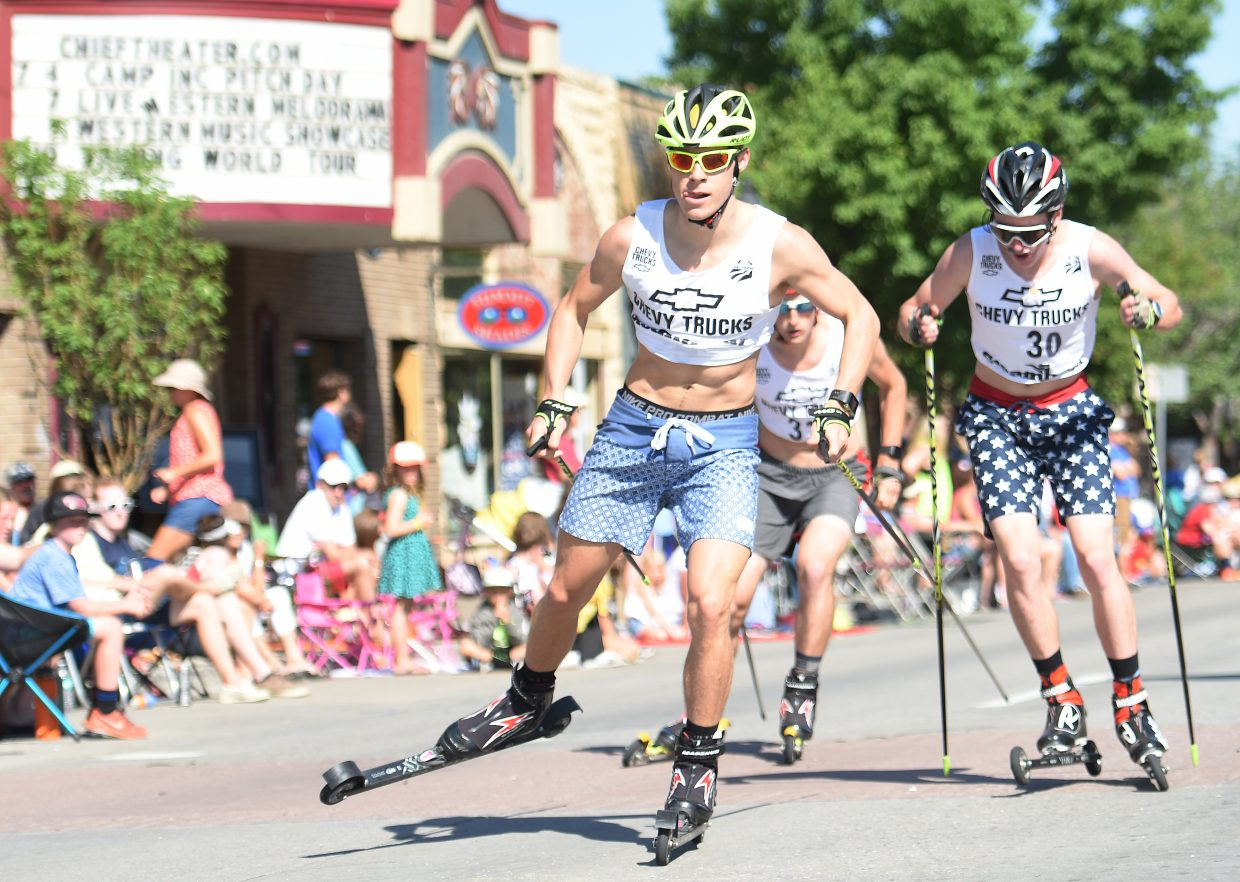 Steamboat Springs Nordic combined skier Ben Berend flies down Lincoln Avenue on Monday during the 3-kilometer roller ski race in downtown Steamboat.