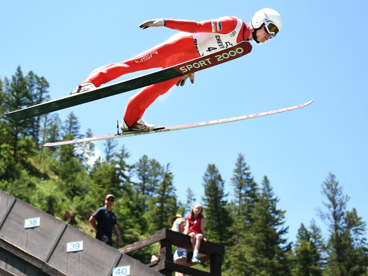 Ben Berend soars high Monday at Howelsen Hill in Steamboat Springs.