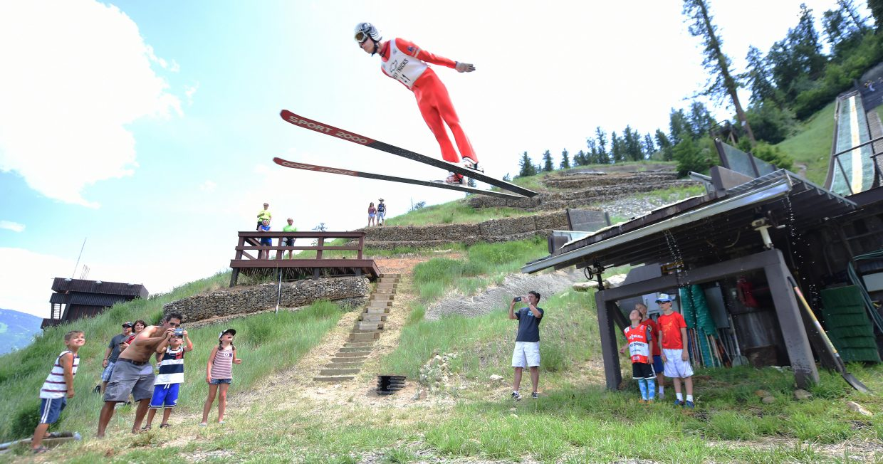 Steamboat Springs Nordic combined skier Ben Berend flies from Howelsen Hill on Monday.