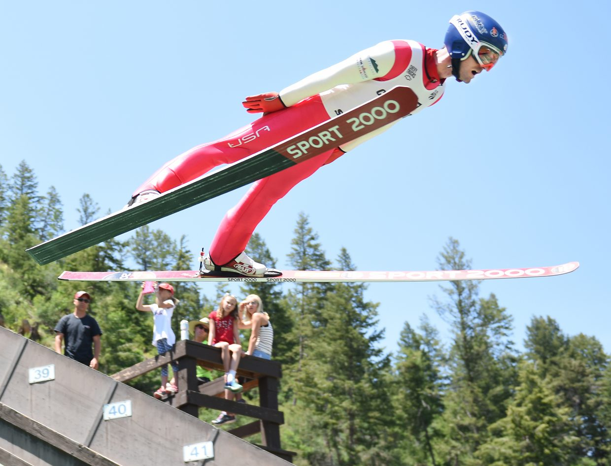 Steamboat Springs Nordic combined skier Bryan Fletcher catches air Monday at Howelsen Hill in Steamboat Springs.