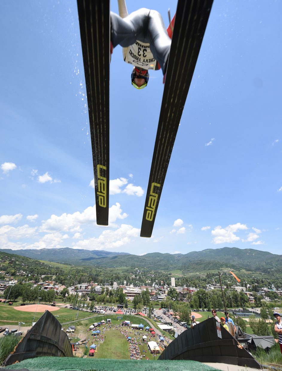 Jack Lock flies above the crowd Monday at Howelsen Hill.