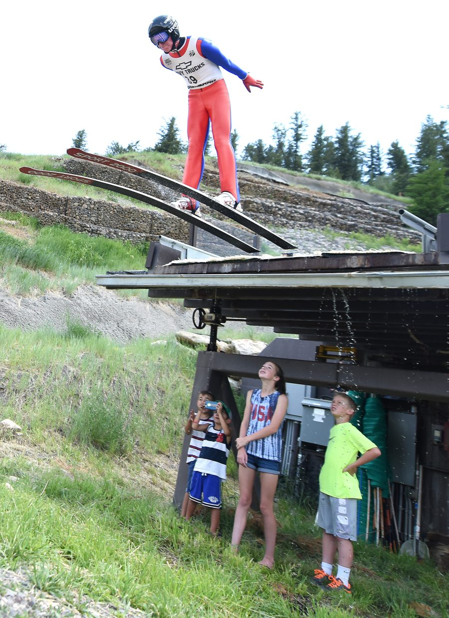 Park City Nordic combined skier Stephen Schumann flies from the jump at Howelsen Hill in Steamboat Springs on Monday.